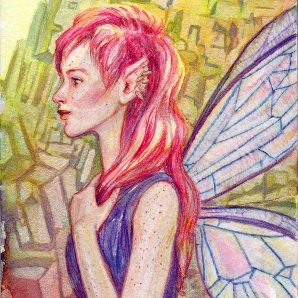 Fluorite Fairy is still available on the Changeling Artist Collective Facebook Auction- All That Glitters  https://tinyurl.com/AllThatGlitters-Changeling  - ending Friday at noon (US) EDT. Find link in my bio @changelingartist #fairypaintingforsale #pinkhair #watercolorpainting #april2017 #belindaillustrates #fairy #fluorite