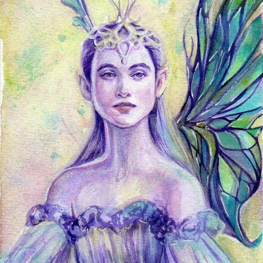 This beautiful Amethyst fairy painting is up for sale through the @changelingartist Collective Facebook group, auction ends on Friday 14th April 2017, link in bio (and here  https://tinyurl.com/AllThatGlitters-Changeling ) Happy Easter!! #fairypaintingforsale #allthatglitters #watercolorpainting #purplehair #greenwings #belindaillustrates #april2017