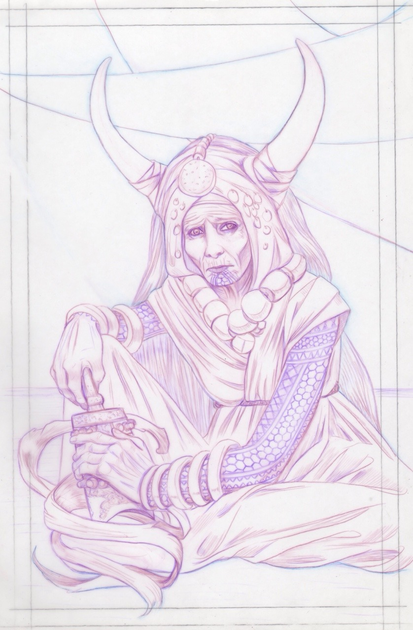 Some progress on my Kismet Priestess for  @lightgreyartgallery  exhibition coming up towards the end of the year. Col-erase pencils on matte Dura-Lar film. I love working on this surface, it's so good for flipping and correcting, thanks to  @scottmfischer  for all the great videos and advice for working on it ☺ #colerase #prismacolorpencils #duralar #characterdesign #march2017