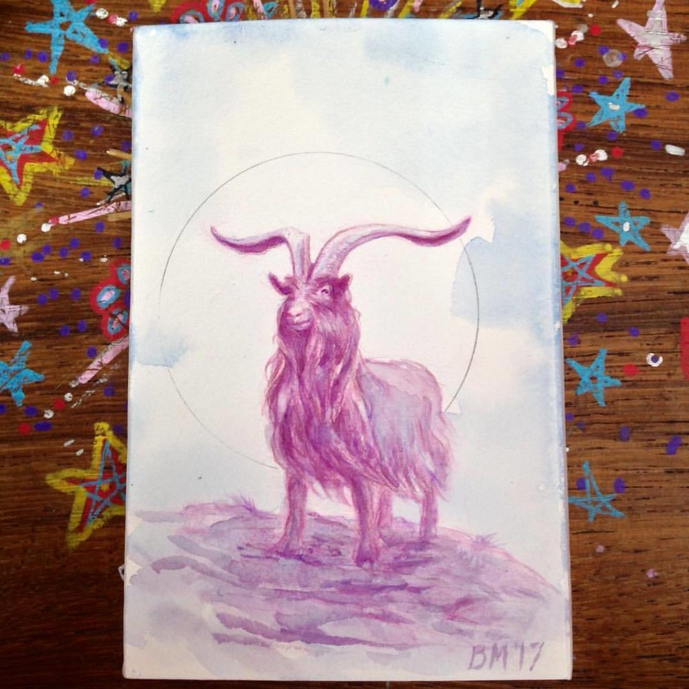 Yay I finally get to share this! Painted for my good friend @artofnyra Happy Birthday! I ended up painting the circle with silver and gold finetec watercolour. I really enjoyed painting this so if anyone wants to commission me I'd be happy to do it (it will be in fairy floss shades though) ☺💜💕💙 #pinkgoat #belindaillustrates #watercolorpainting #goatpainting #2017