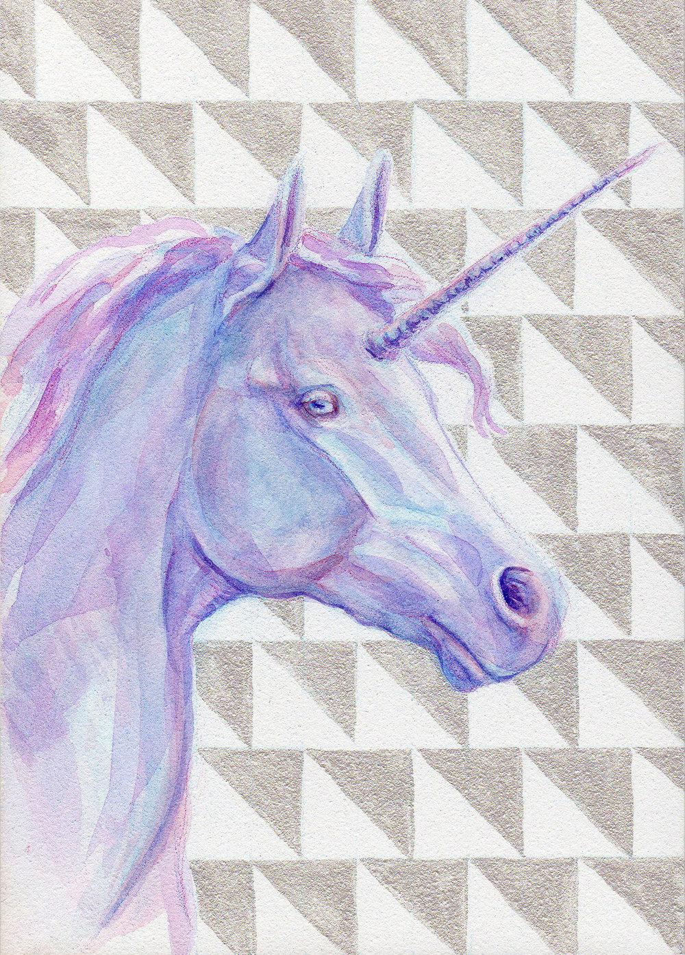 "Because the world needs more unicorns ;)  ""Chevron Unicorn""   5 x 7″  watercolour on Aquabord, available    here      www.belindaillustrates.com"