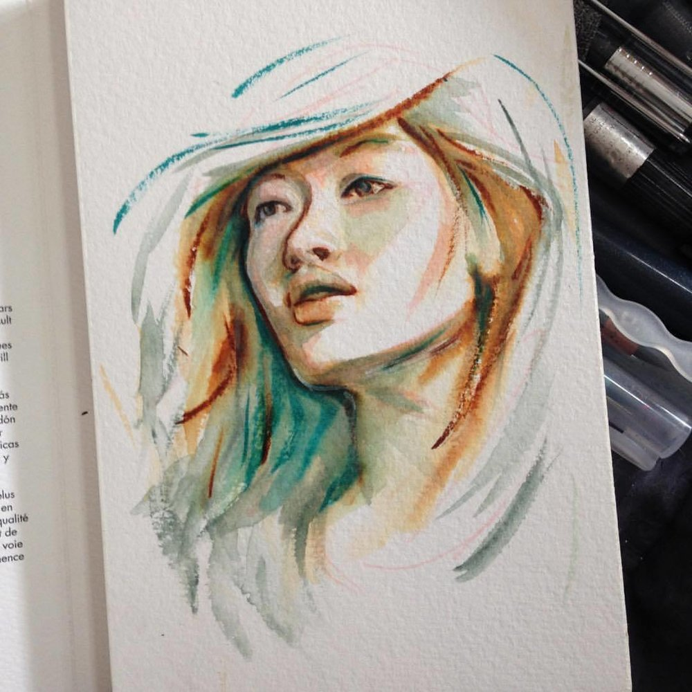 """Trying the Fluid Watercolour Block  (300gsm Cold Press), can be bought here  https://www.etsy.com/au/listing/508705373/original-watercolour-sketch-portrait                                                                       """"Defluent""""  running down; decurrent     A portrait sketch done in watercolour on 300gsm Cold Press watercolour paper    4x6"""" (10.16x15.24cm)    Copyright is retained by artist Belinda Morris 2017     www.belindaillustrates.com                  #2017 #artforsalebyartist #fluidwatercolorpaper #watercolor #watercolourpainting #portraitsketch"""