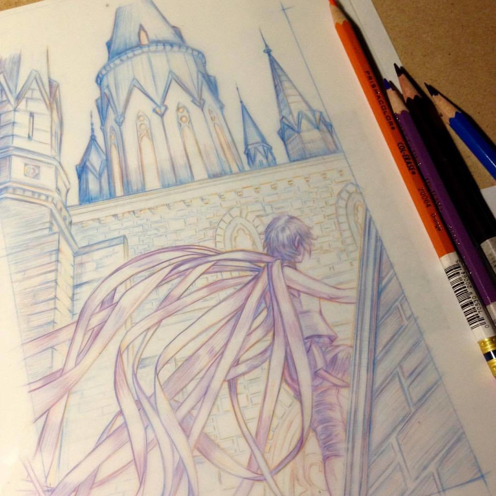 Update on my under drawing for The Art of the Cover assignment Mistborn. Was a bit worried about doing buildings as I'm more the portrait type ☺#artofthecover #mistborn #assignment  #bookcoverillustration #belindaillustrates #2017