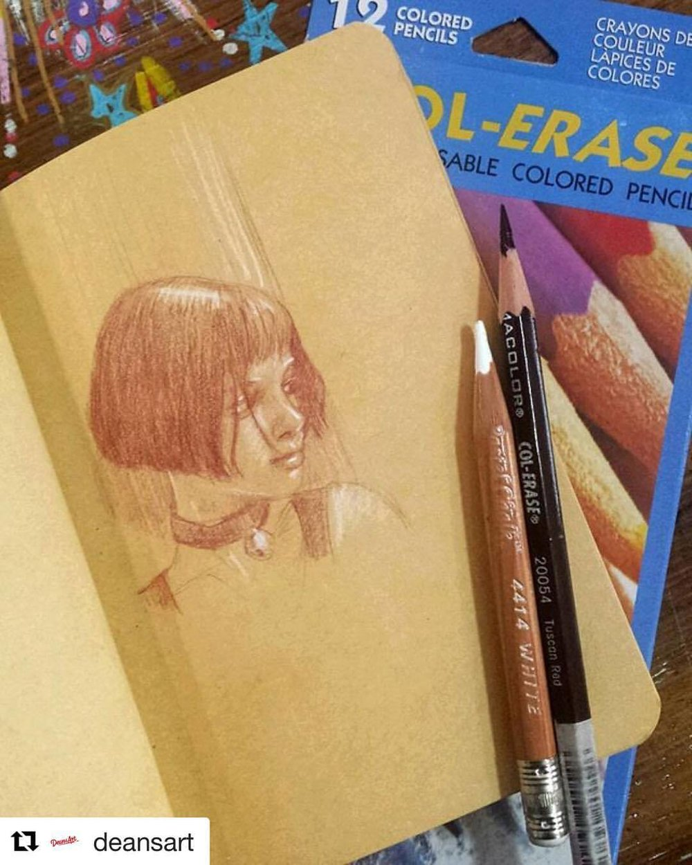 My drawing featured on my works Instagram page today ☺  ・・・  Look what you can do with a #prismacolor #colerasepencil and a #generalswhitepastel #pencil both of which you can buy from #southmelbourne #deansart we also sell the #kraftpaper visual diaries ☺ #instaart #instaartist #artproducts #melbourneartist #artlovers #sketchbook by @belindaillustrates