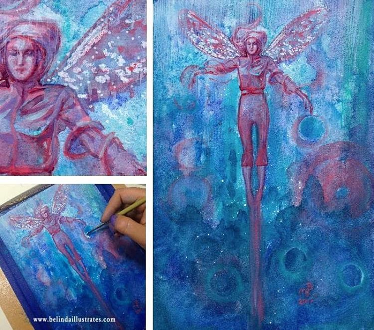 Bidding has now begun on my Winged Things paintings ☺️ go the link in my bio for more of mine and the @changelingartist Collective's artwork for sale #artforsale #changelingartistcollective #wingedthings #fairyart #belindaillustrates #january2017