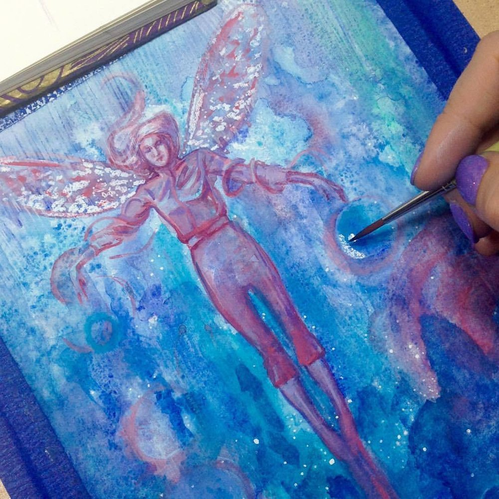 """Second experimental fairy for the """"Winged Things"""" @changelingartist auction which is starting next Monday stay tuned for auction link as these fairies are for sale!! ☺️#belindaillustrates #artforsale #fairy #watercolourpainting #changelingartistcollective #january2017"""