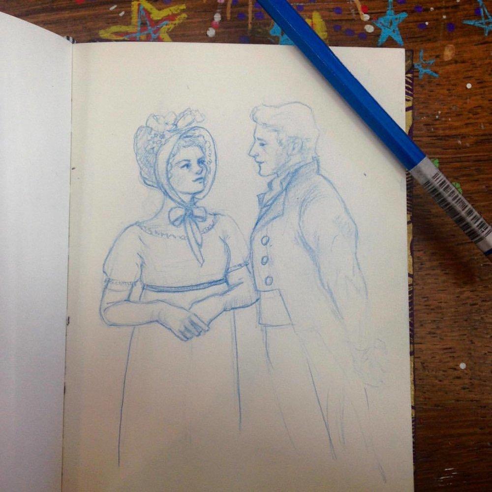 Miss Crawford and Edmund #mansfieldpark #illustration  #bluepencil #colerasepencils #sketchbook #belindaillustrates