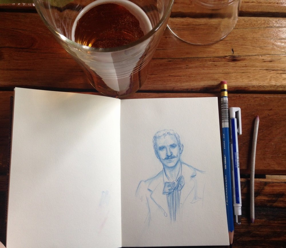 Sketch of Charles Rennie Mackintosh. He was an amazing artist and designer. Unfortunately he died at the age of 60 due to throat and tongue cancer. Support men's health, support Movember  https://au.movember.com  #movember #menshealth #drawing #sketch #sketchbook #pencils #bluepencil #mackintosh #belindaillustrates