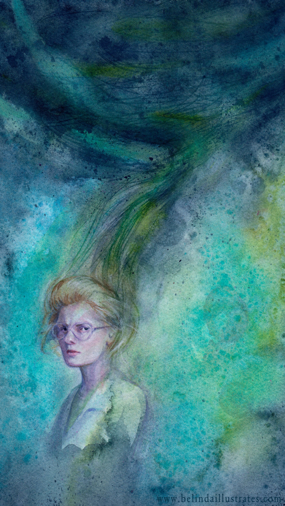 """""""Darkness"""" by Belinda Morris   Svetlana from the book and the movie """"Nightwatch"""" curses herself creating a vortex that can destroy the world.   www.belindaillustrates.com   Watercolour and Gouache  Created for #MonthofFear week 5 #Darkness"""
