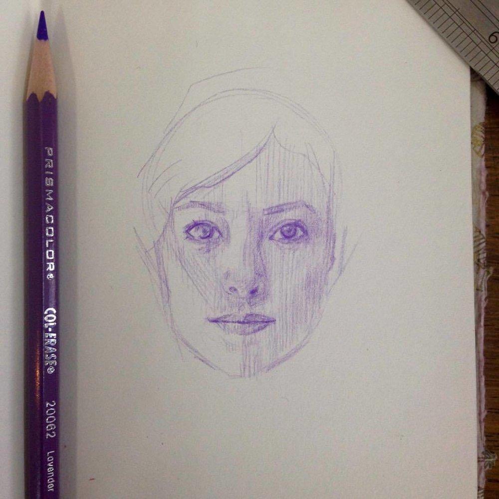 The start of a portrait #sketch #drawing #portrait #face #pencil #purple #october2016 #belindaillustrates