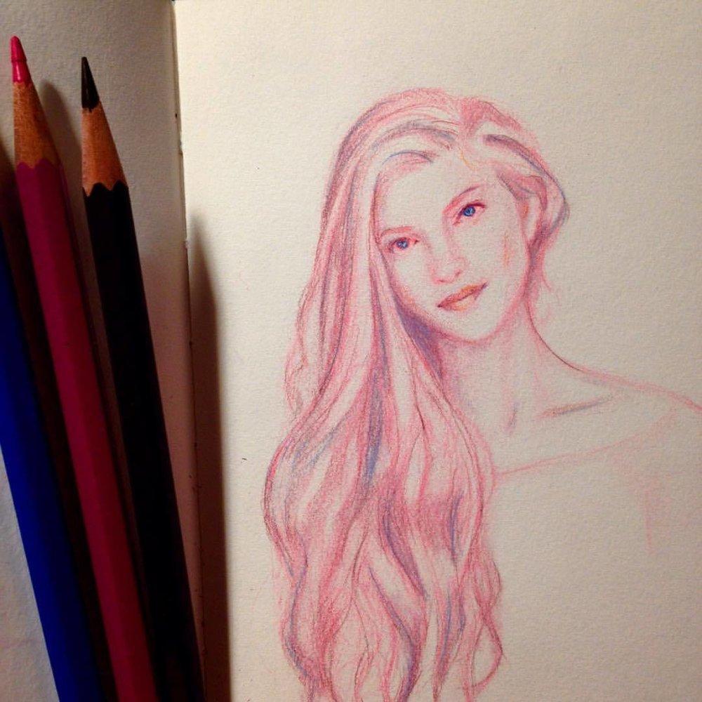 Just a little portrait sketch in prismacolor pencils ✏️ ☺️ #portrait #sketch #sketchbook #drawing #pink #pencil #prismacolor #girl #longhair #october2016 #belindaillustrates