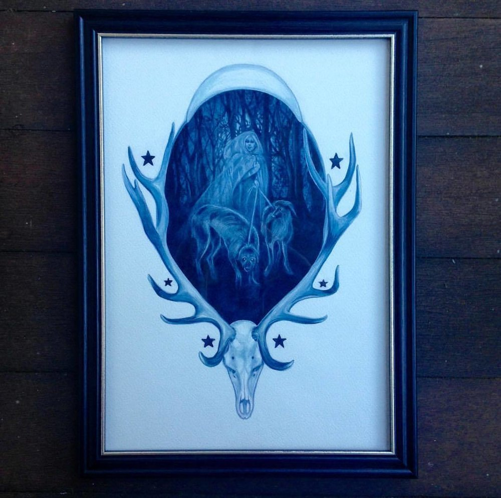 """Here's """"Hounds of Love"""" framed for more details click on this link  http://tinyurl.com/TrickOrTreat-Changeling  #houndsoflove #watercolourpainting #blue #blue💙 #ghost #artauction #changlings @changelingartist #artforsale #october2016"""