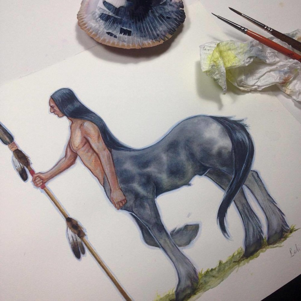"""First centaur I have ever painted ☺️ and I'm pretty happy with how he turned out. Watercolor and gouache on 200gsm HP Fabriano paper. """"Pholos of the restless spirit"""". #characterdesign #centaur #nativeamerican #appaloosa #dappledgrey #2016 #belindaillustrates #october #illustration #watercolor #watercolour #painting #fantasyart #fantasyartist"""