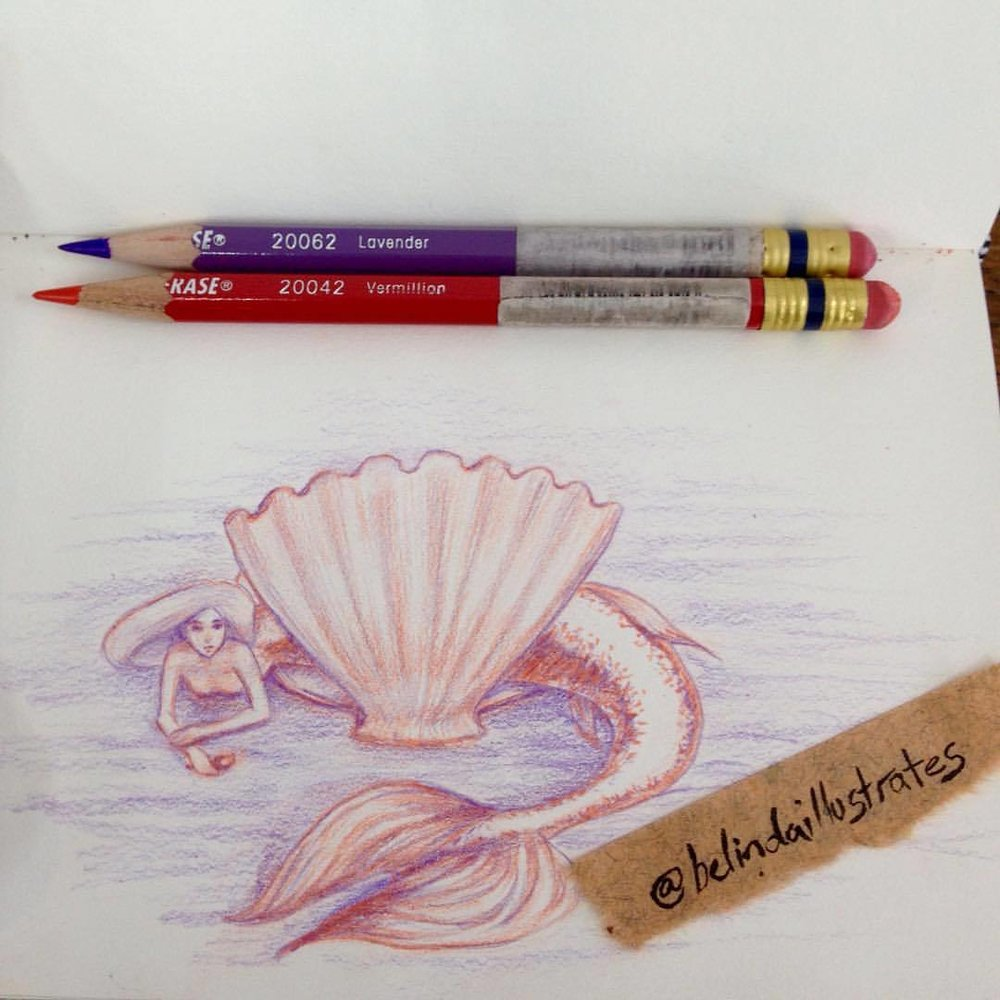 Just a little mermaid chilling out in a clam shell ☺️🐬 #mermaid #chillingout #clamshell #purple #orange #drawing #sketchbook #sketchtember #sketchtember2016 #belindaillustrates #september #2016