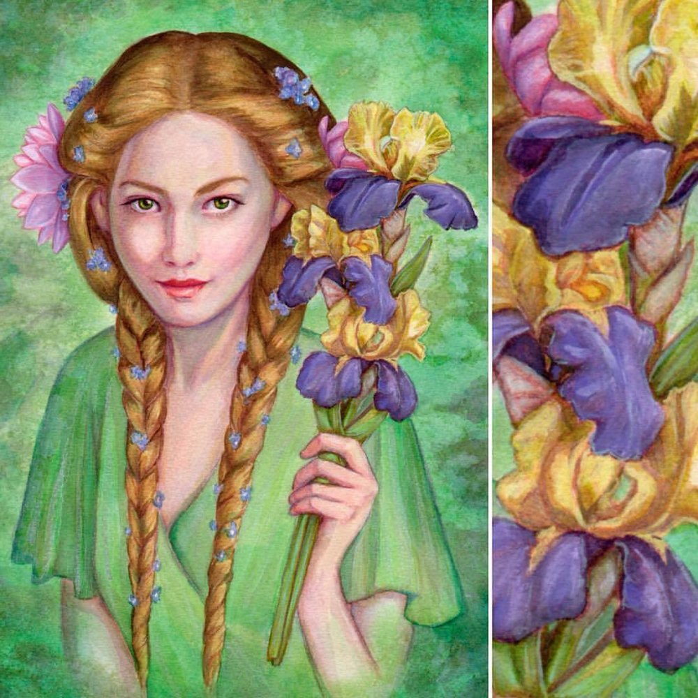 """""""The River's Daughter"""" Goldberry from Lord of the Rings with symbols of her office: the water lily, the iris and the forget-me-not #goldberry #lotr #lordoftherings #fellowshipofthering #illustration #portrait #fantasyart #tolkien #jrrtolkien #artforsale @changelingartist #belindaillustrates #watercolor #watercolour #painting #pencil #gouache #iris #forgetmenot #waterlily #greenpainting #green #august #2016"""