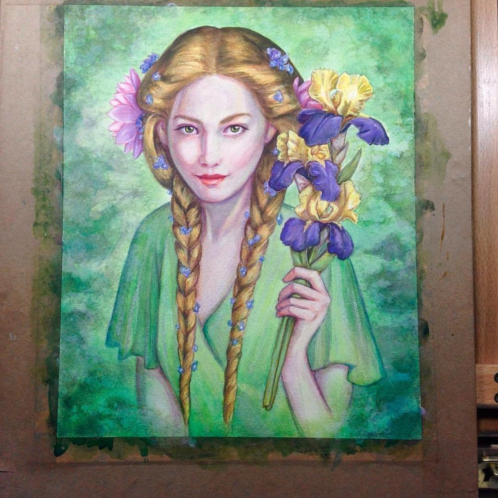"I think I'm going to call this one done! ""The River's Daughter"" Goldberry from Lord of the Rings with symbols of her office: the water lily, the iris and the forget-me-not #goldberry #lotr #lordoftherings #fellowshipofthering #illustration #portrait #fantasyart #tolkien #jrrtolkien #artforsale @changelingartist #belindaillustrates #watercolor #watercolour #painting #pencil #gouache #iris #forgetmenot #waterlily #greenpainting #green #august #2016"