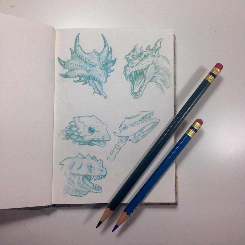 #Dragon head #sketch #studies in #green and #lightblue #prismacolor #pencils ☺️ #illustratorsoninstagram #2016 #august #sketchbook #belindaillustrates #smaugust