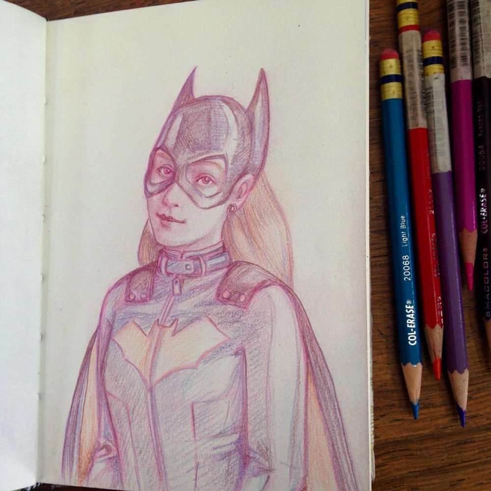 Batgirl looking a bit fed up with having to save everyone and having to put up with ridiculous villains- someone give her a coffee and a neck massage! I might do some prints of this and others, comment below if interested 😊 #belindaillustrates #batgirl #dccomics #dc #comiccharacters #comics #fedup #needcoffee #prismacolor #prismacolorpencils #colerase #colerasepencil #sketch #sketchbook #august #2016 #illustratorsoninstagram