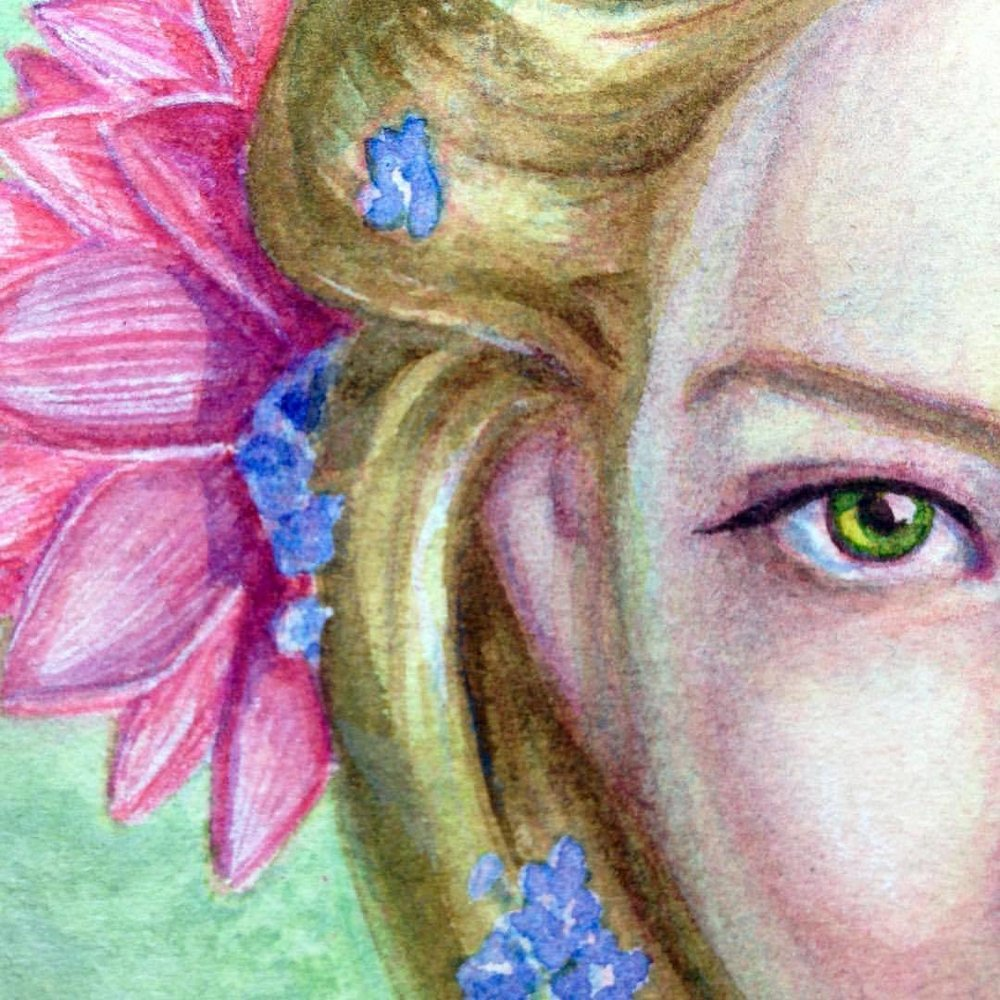 Close up of Goldberry for Lord of the Rings themed art auction with @changelingartist to be held early September #watercolor #changelings #august #2016 #watercolour #watercolorpainting #painting #goldberry #lotr #lordoftherings #tolkien #closeup #wip #forgetmenot #waterlily #belindaillustrates