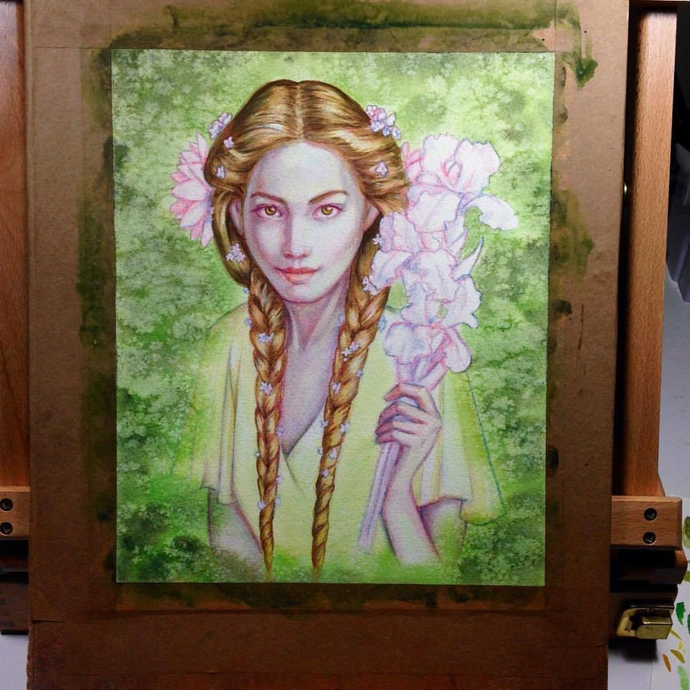 "On the easel and ready to paint- Goldberry! Three quarters finished (can't wait to start on the flowers!). For the Tolkein themed ""There and Back Again"" @changelingartist September auction #artforsale #belindaillustrates #fantasyportrait #painting #watercolor #danielsmith #danielsmithwatercolors #underseagreen #goldberry #lotr #lordoftherings #characterportrait #prismacolor #prismacolorpencils #pencils #watercolorpainting #watercolour #2016 #august #changelings"