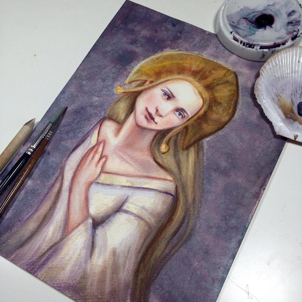 "Here's a better view of my finished painting of Galadriel for the Changelings ""There and Back Again"" Lord of the Rings themed auction happening next month, stay tuned for more info @changelingartist #tolkein #august #2016 #belindaillustrates #galadriel #lotr  #watercolor #pastel #pencil #painting #illustratorsoninstagram #fantasyportrait #illustratorsoninstagram #artforsale #auction"