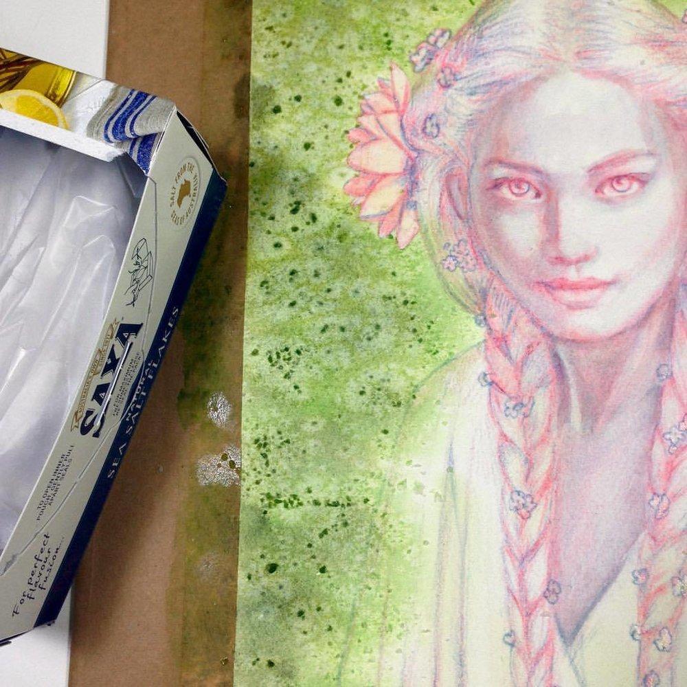 Salt again ☺️ #fantasyportrait #illustratorsoninstagram #painting #pencil #danielsmithwatercolors #salttexture #salt #goldberry #lordoftherings #lotr #changelings @changelingartist #2016 #august #wip #belindaillustrates