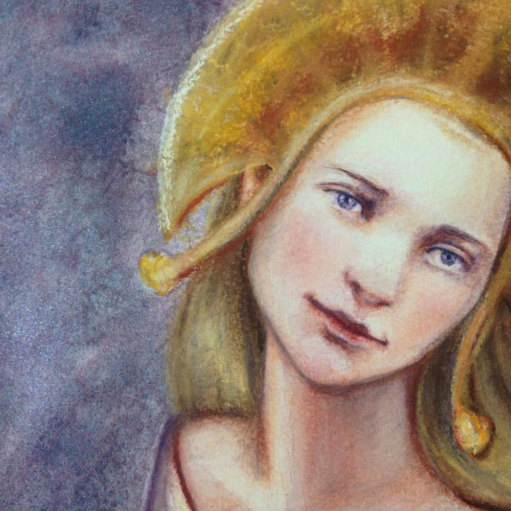 """Finished my painting of Galadriel for the Changelings """"There and Back Again"""" Lord of the Rings themed auction happening next month, stay tuned for more info ☺️ #tolkein #august #2016 #belindaillustrates #galadriel #lotr  #watercolor #pastel #pencil #painting #illustratorsoninstagram #fantasyportrait"""