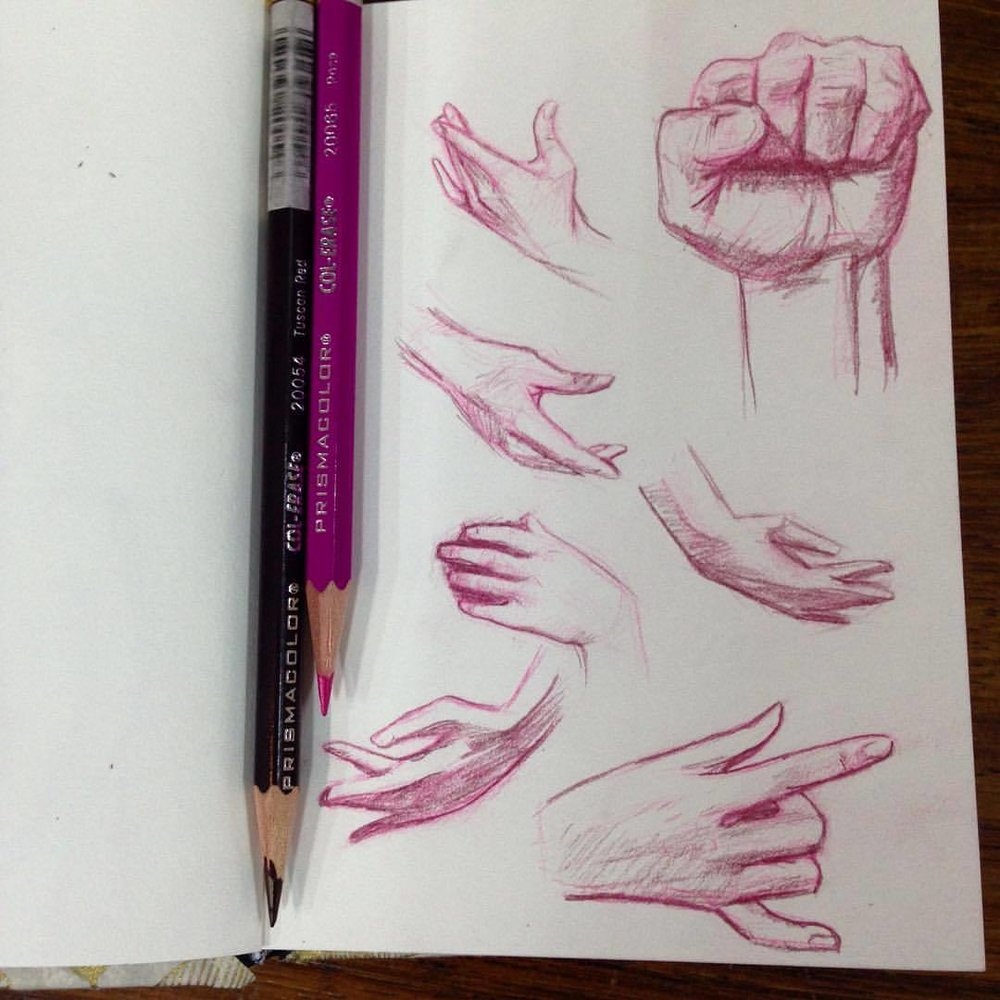 Hands studies, drawing hands are not my strong suit so practicing to get better ☺️ #belindaillustrates #2016 #august #handstudy #sketch #sketchbook #prismacolor #pencils #illustratorsoninstagram