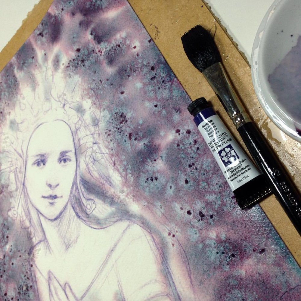 "Bought some new paint the other day so I thought I'd see if it suited Galadriel 😊 Finished painting will be for sale at the next Changelings Auction ""There and Back Again"" from the 12th to 16th September 2016 #belindaillustrates #2016 #watercolor #danielsmith #moonglow #galadriel #lotr #wip #changelings @changelingartist"