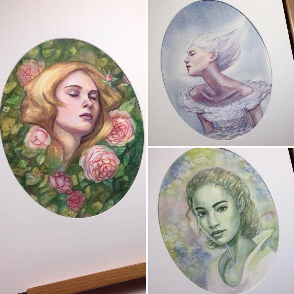 "These 3 lovely ladies will be available tomorrow through the @changelingartist Once Upon a Time Facebook auction   http://tinyurl.com/OnceUponATime-Changeling  . All paintings are watercolour, gouache and pencil, around 10x12"" and will range in price from $250-$325 (USD) with starting bids at $80-100USD. From right to left- Sleeping Beauty, Odette the Swan Princess and Wenya the Green Elf #painting #watercolour #watercolor #2016 #august #auction #onceuponatime #changelingsauction #belindaillustrates #illustratorsoninstagram"