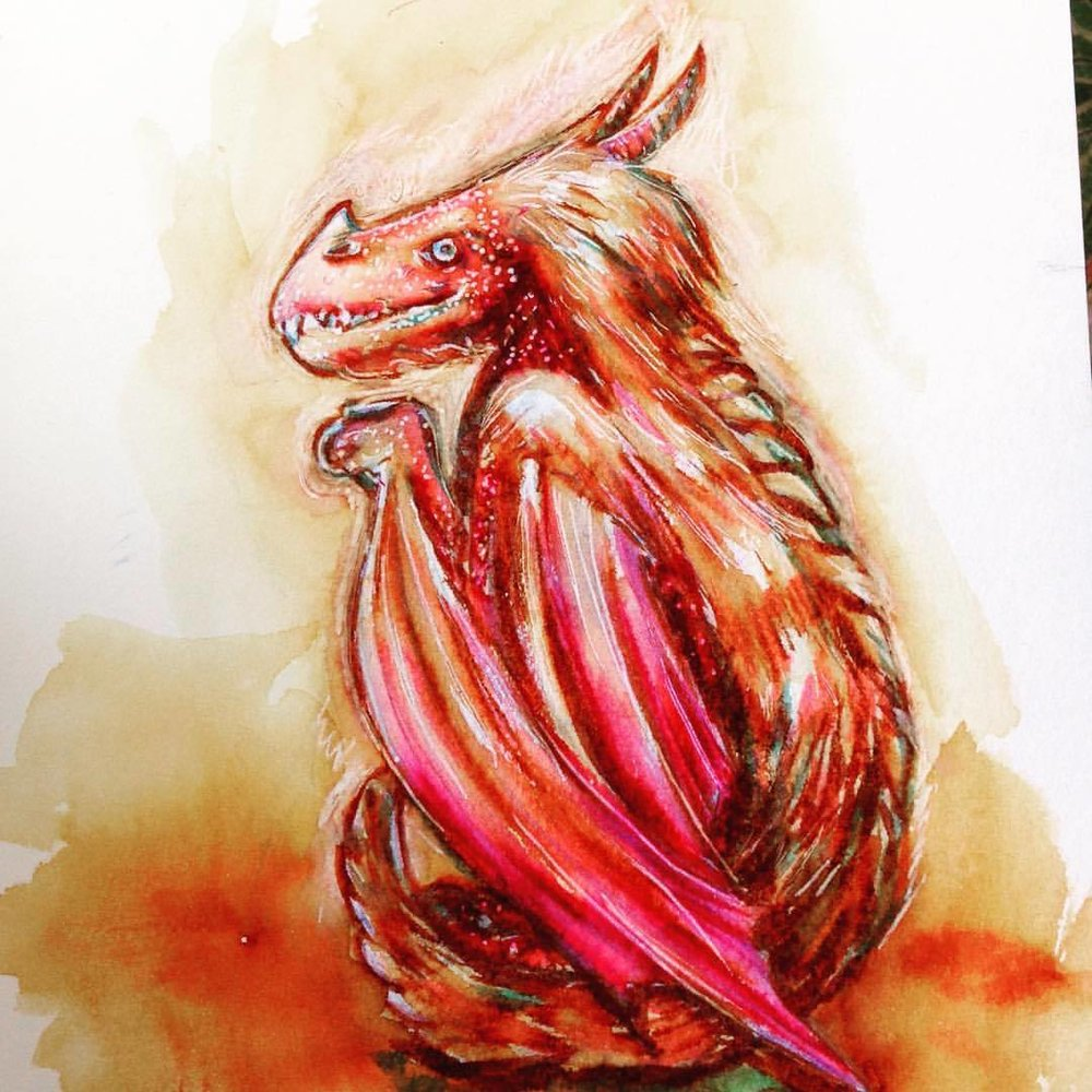 COFFEE!!! My #smaugust tribute 😁 #sketch #dragon #coffee #fantasy #saibrushpens #prismacolor #belindaillustrates #august #2016