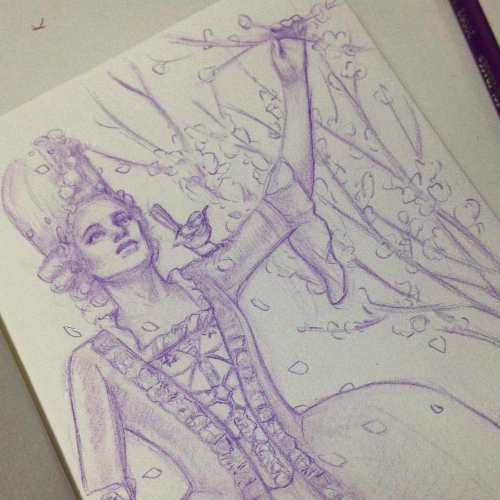 """""""Cinderella and the Hazel Tree"""" #illustratorsoninstagram #2016 #july #lavander #cinderella #onceuponatime #fairytale #prismacolor #pencils #sketch #sketchbook"""