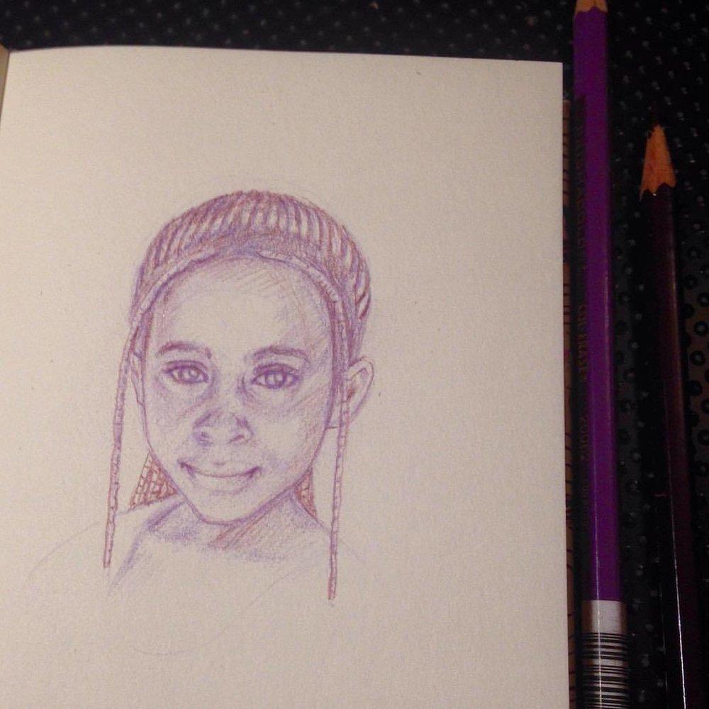 A beautiful girl ☺️ #belindaillustrates #sketch #sketchbook #prismacolor #pencils #tuscanred #lavander #beautifulgirl #july #2016 #illustratorsoninstagram