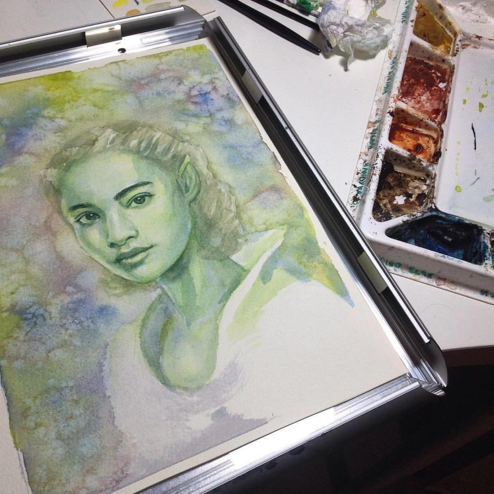 I'm working on something special for next month for @changelingartist based on one of my drawings from last month 😁 #junefae #greenelf #green #watercolour #fantasyportrait #illustratorsoninstagram #watercolor #painting #onceuponatime #july #2016 #wip