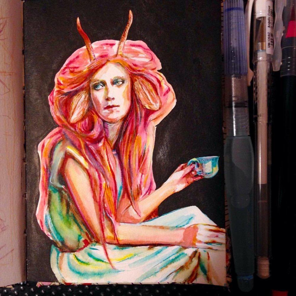 """Chatting over tea"" #pink #sketchbook #sketch #illustratorsoninstagram #2016 #july #tea #satyr #fantasy #pinkhair #horns #belindaillustrates"