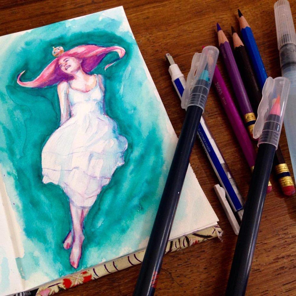 """The Light Princess in Full Leap"" #childrensbookillustration #thelightprincess #georgemacdonald #fairytale #pinkhair #princess #turquiose #pink #favoritebook #illustratorsoninstagram #2016 #july #belindaillustrates"