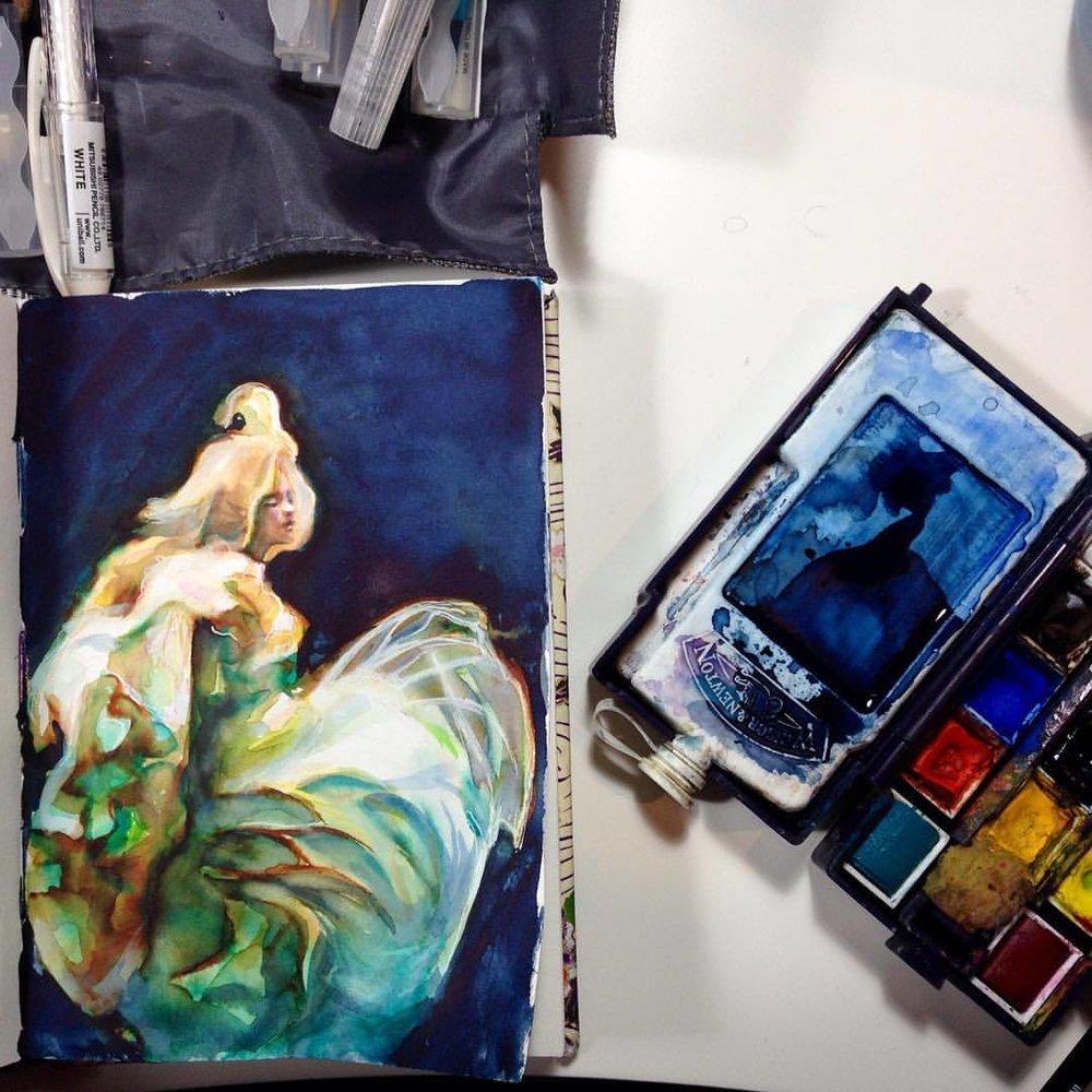 """Floating"" Close up of ""Floating"" #illustratorsoninstagram #sketchbook #sketch #underwater #floating #water #fabric #brushpen #prismacolor #gelpen #thelightprincess #watercolor #watercolour #2016 #july #fairytale"