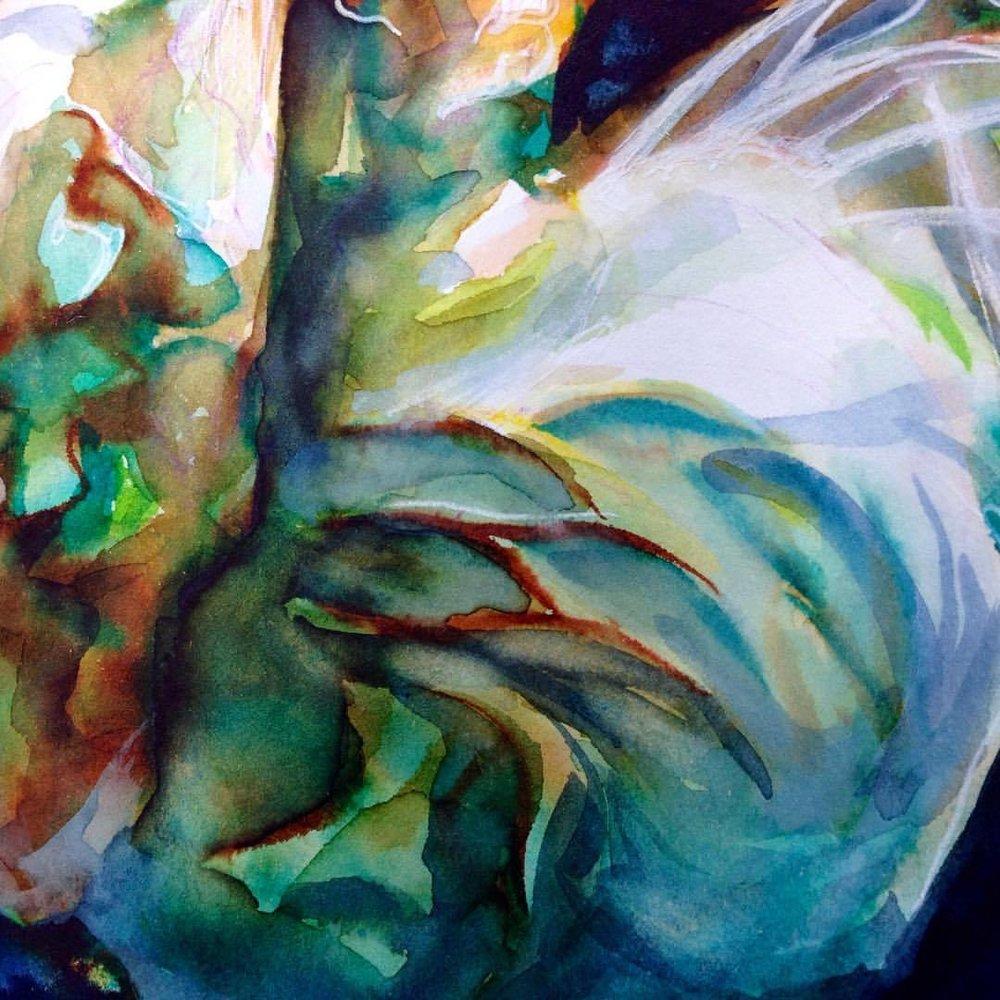 "Close up of ""Floating"" #illustratorsoninstagram #sketchbook #sketch #underwater #floating #water #fabric #brushpen #prismacolor #gelpen #thelightprincess"