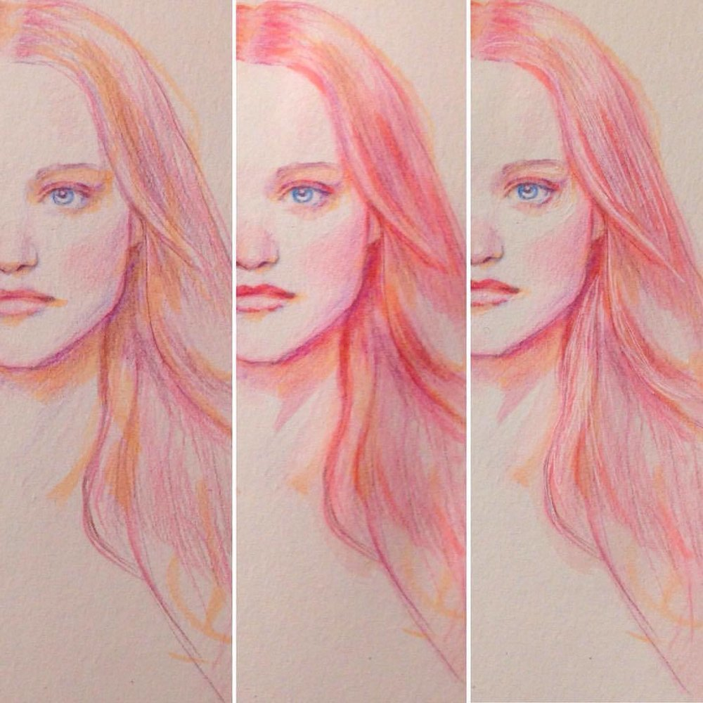 Three stages of drawing the Fairy Floss Queen, first was a light brush pen with pencils, next was some more brush pens with a water brush and finally whites gel pen with some pencil highlights #process #colerase #pencils #prismacolor #illustratorsoninstagram #sketchbook #sketch #pinkhair #pink #japanesebrushpen #fairyfloss #fairyflosshair #portrait #belindaillustrates #july #2016