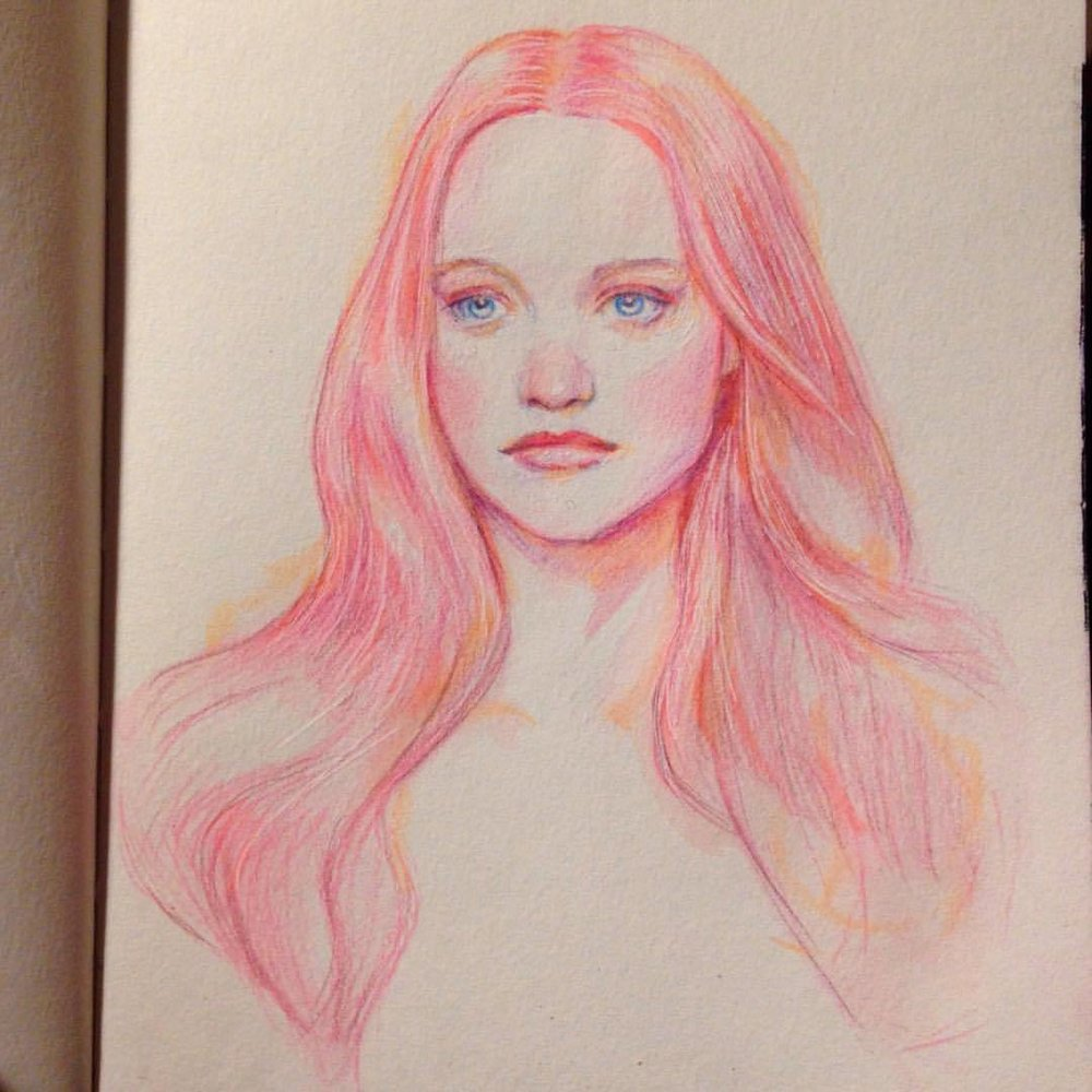 """Fairy Floss Queen"" man I love coloured hair 😁🦄 #colerase #pencils #prismacolor #illustratorsoninstagram #sketchbook #sketch #pinkhair #pink #japanesebrushpen #fairyfloss #fairyflosshair #portrait #belindaillustrates #july #2016"