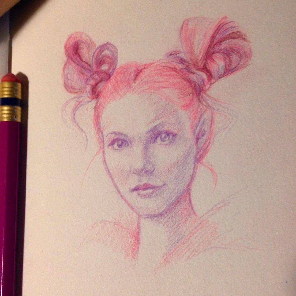 """Pink Pixie"" a bit of a homage to one of my favourite illustrators 😁 #illustratorsoninstagram #twotone #purple #prismacolorpencils #pink #sketch #sketchbook #2016 #pixie #belindaillustrates #july"