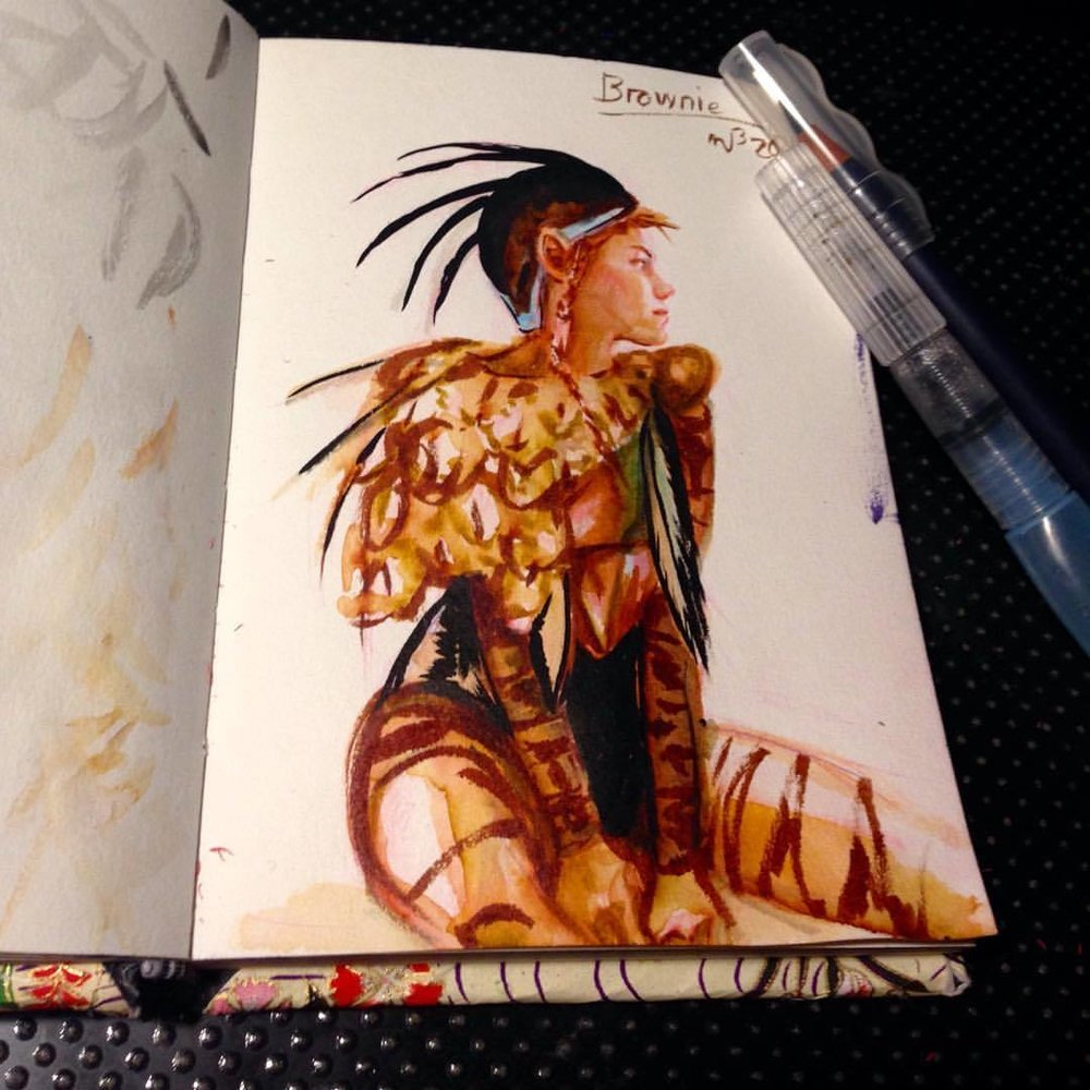 Brownie sketch with brush pens for size comparison 😁 #japanesebrushpens #illustratorsoninstagram #sketch #fairy #brownie #sketchbook #2016 #july