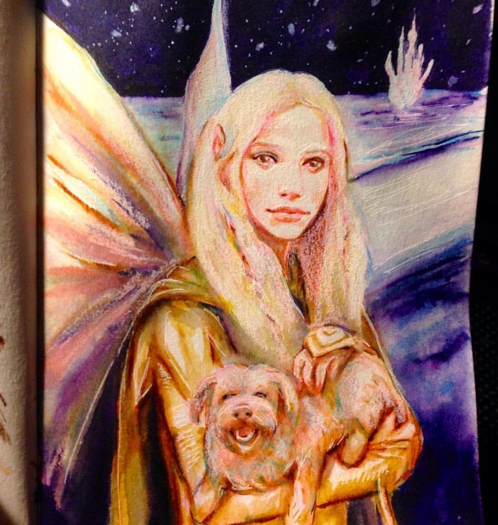 A tribute sketch of a slightly more human version of Kira from the Dark Crystal and more of a doggie version of Fizzgig 😁 #thedarkcrystal #kira #fizzgig #junefae #2016 #fanart #illustratorsoninstagram #japanesebrushpen #colerasepencils #prismacolorpencils #gelfling #belindaillustrates #fantasyportrait #fantasyart #sketch #june