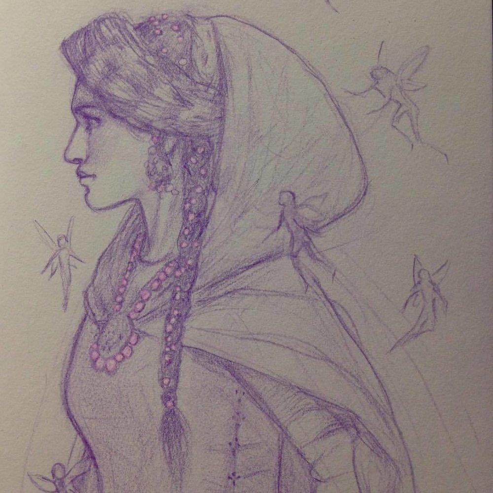 """Going to confront Mac Dara, the Fae Prince"" (inspired by Juliet Marillier's ""Heir to Sevenwaters"") sketched by me, Belinda Morris with a Prismacolor pencil ☺️ #pencilsketch #prismacolor #illustratorsoninstagram #june #belindaillustrates #junefae #faries #macdara #julietmarillier #sevenwaters #heirtosevenwaters"