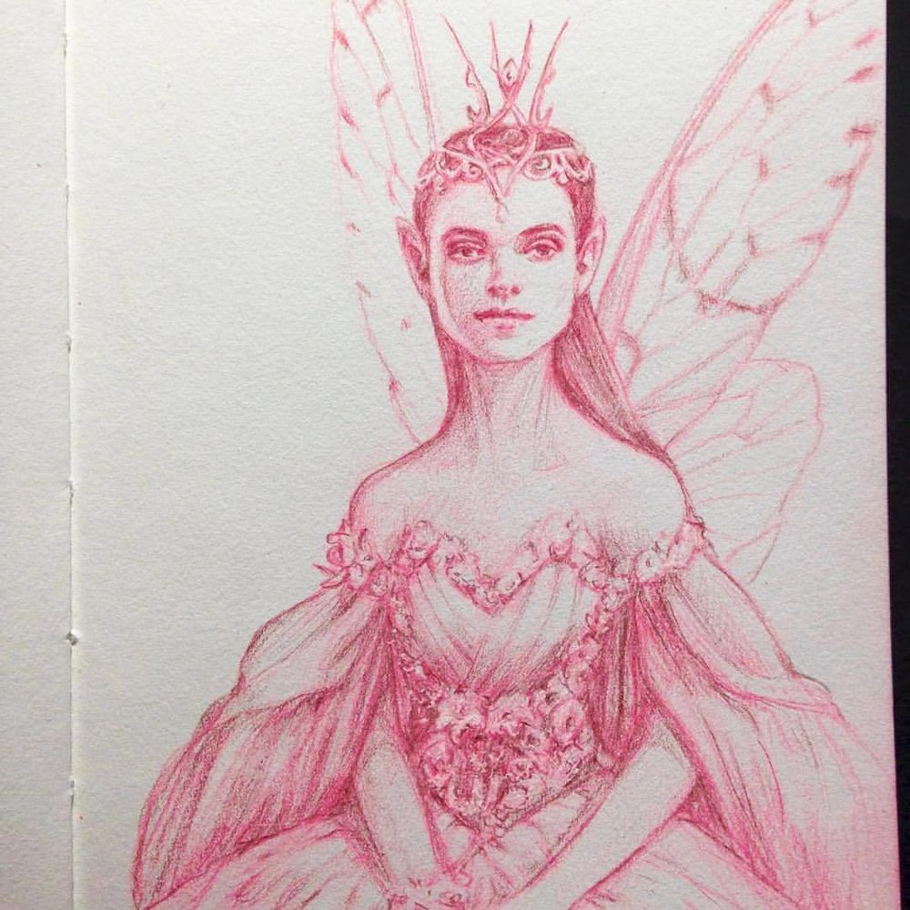 The Fairy Queen will now hear your petition ☺️ #belindaillustrates #cicadawings #pink #illustratorsoninstagram #junefae #junefairy #prettyinpink #fantasysketch #portrait #prismacolorpencils #prismacolor #fairyqueen #sketch #justforfun #2016 oooops nearly forgot! The dress is inspired by another design by @fireflypath
