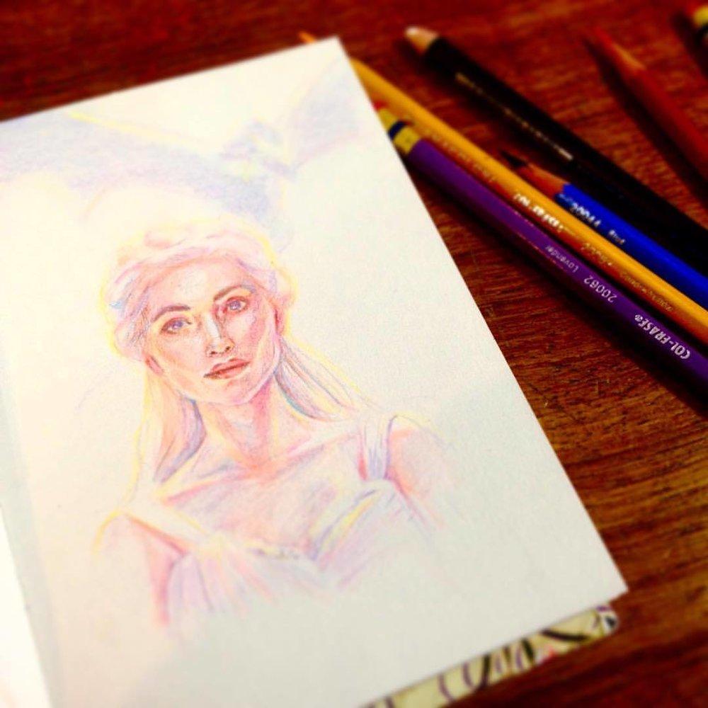 A Mighty Queen 😉 #khaleesi #queen #daenerystargaryen #stormborn #gameofthrones #got #portrait #sketch #prismacolor #pretty #illustratorsoninstagram #artistsofinstagram #2016 #belindaillustrates #justforfun