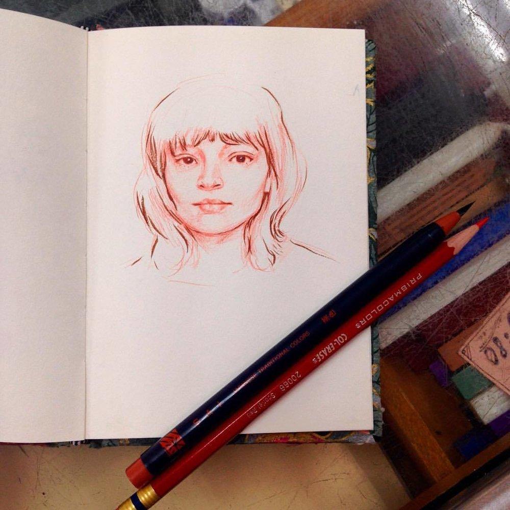 Sketch of Lauren Mayberry from Chvrches #lovethisband #belindaillustrates #2016 #sketch #japanesebrushpen #prismacolor #slowdayatwork