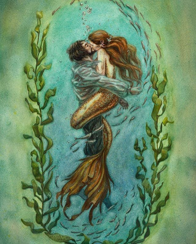 """Since it's #mermay here's an older painting I did a few years ago called """"The Rescue"""" the original is sold but prints are still available through my Etsy page and Redbubble  http://www.redbubble.com/people/artybel/works/15235880-the-rescue?ref=recent-owner   https://www.etsy.com/au/listing/287813743/the-rescuethe-little  #belindaillustrates #therescue #mermaid #kissing #blue #green #redhead #watercolor #painting"""