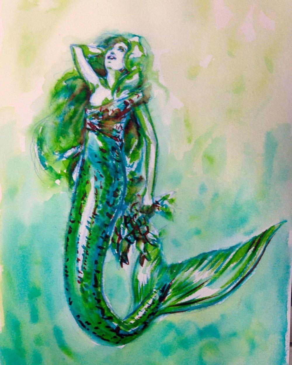 Mermaid enjoying the morning sun with her first catch of the day #mermay #mermaid #mermaidlife #green #sketch #2016 #belindaillustrates