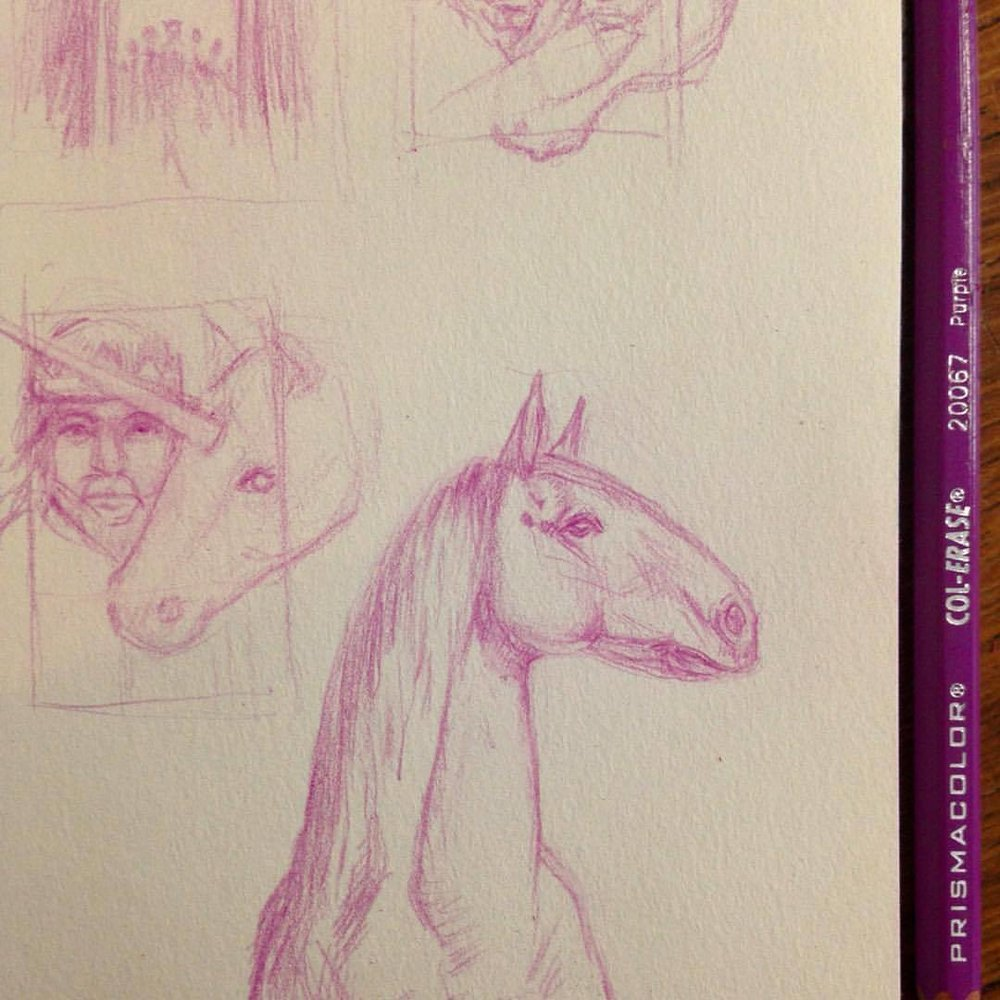When I was a kid my favourite thing to draw was horses, it got me started in art, it gave me a love for fantasy, many a unicorn was drawn ☺️ it's nice to have the excuse to draw them again #horse  #sketch #horsesketch  #unicorn #proudhorse #purple #purplehorse #narniasketches #thehorseandhisboy #thelastbattle #cslewisbookillustrations #practicemakesperfect #2016 #belindaillustrates
